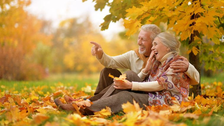 Old couple laughing in the park