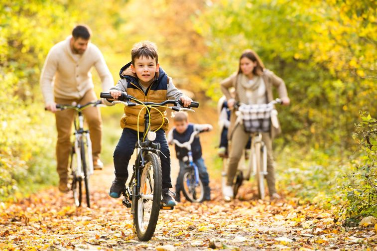 young family on bikes in the park